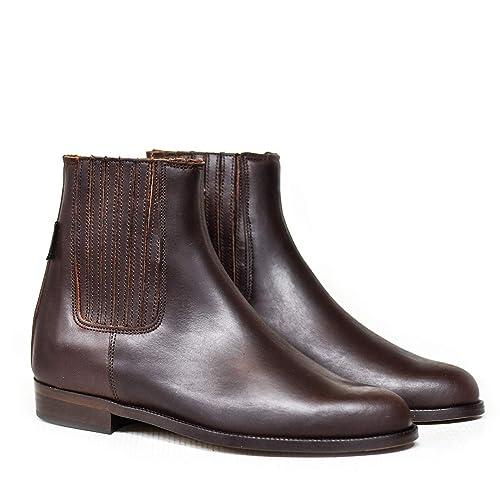 c87c83e666e 515TE Botas y Botines Piel marrón para Hombre y Mujer Chelsea clásica  elástico de Valverde del