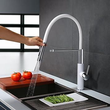 homelody 360° weiss hoher auslauf küchenarmatur spiralfederarmatur ... - Wasserhahn Küche Weiß