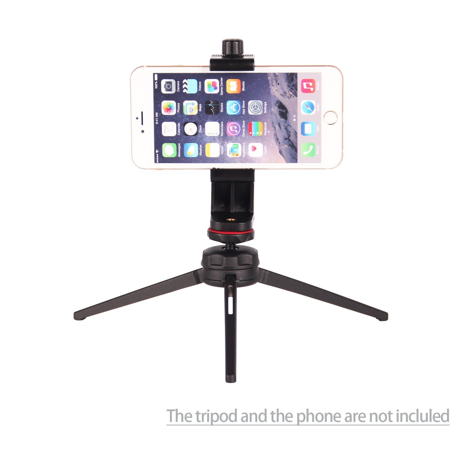 POLAM-FOTO Universal Cell Phone Tripod Adapter Adjustable Phone Holder Mount, Tripod Mount, Fits iPhone Samsung and All Phones, Rotates Vertical and Horizontal, Compatible with all tripods