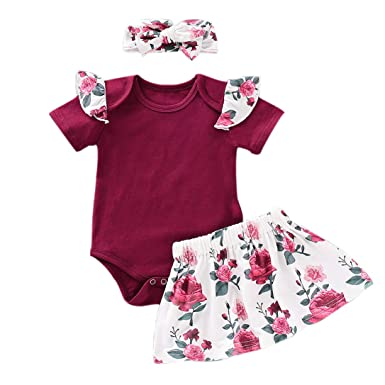 a6499c9d3 PVSECTOR Baby Girls Skirt Set Ruffle Short Sleeve Romper+ Floral Dress+  Bowknot Headband (Purple,