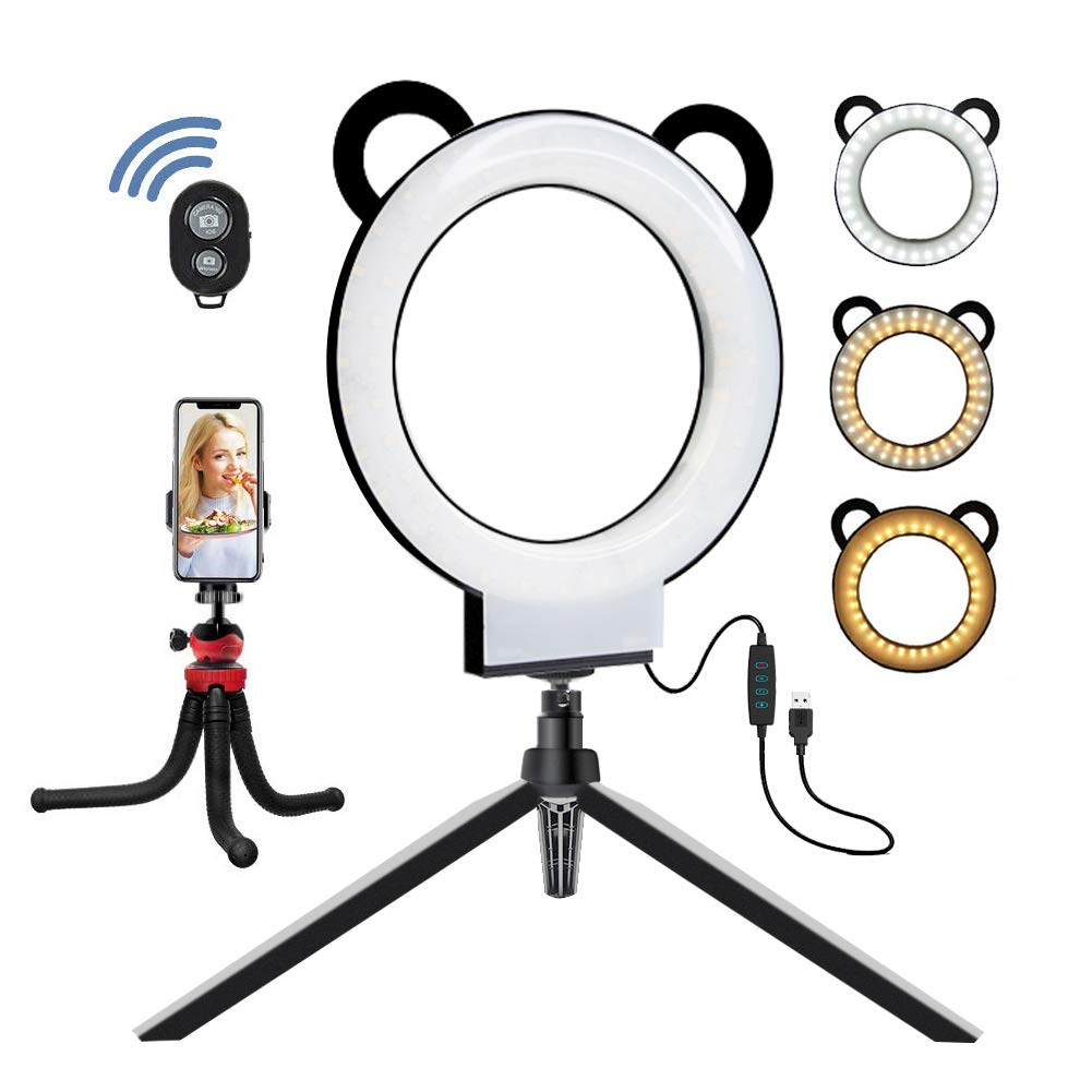 MOUNTDOG 6'' Selfie newest Ring Light Remote Control Dimmable 3 Colors 11 Brightness with Tripod Stand and Cell Phone Holder for Makeup, YouTube Video, Self-Portrait, Mini Desktop Led Ring Light Selfie by MOUNTDOG