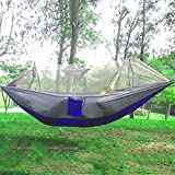 SmartLife Portable Single-person Mosquito Net Hammock Hanging Bed for Travel Camping Dark Blue and Gray
