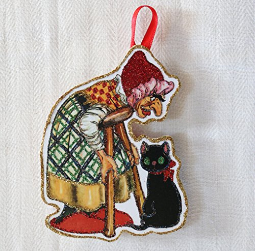 Witch with Cat~Vintage Halloween Paper Doll Image~Glittered Wooden Ornament~