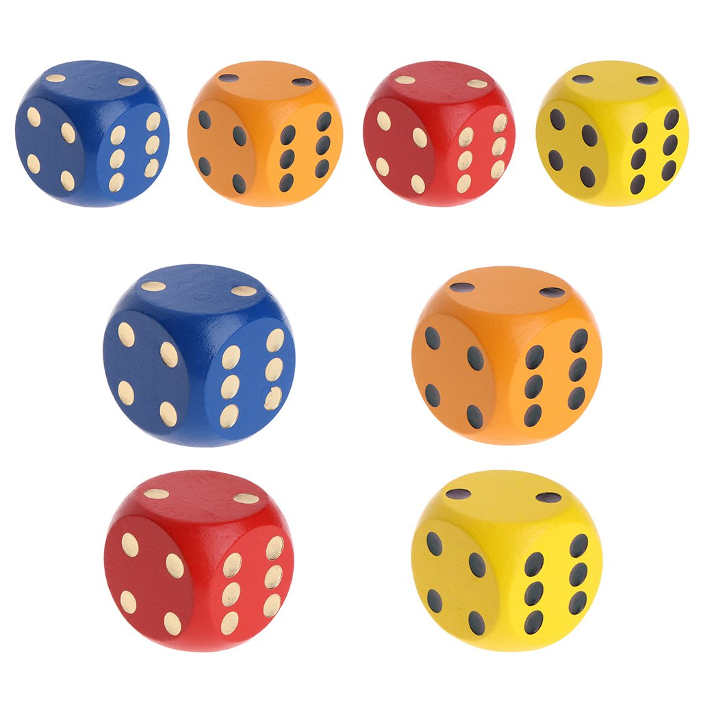 1.18in, Blue Games lpyfgtp 1pc Color Point Wood Dice 3cm 4cm Entertainment Party Family Game Kid Toys Education