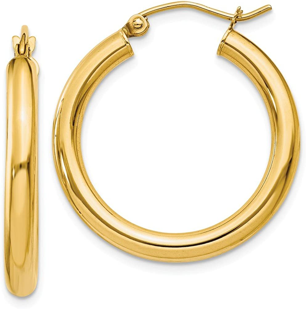 14kt Yellow Gold Polished 3mm Round Hoop Earrings