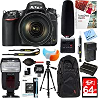 Nikon D750 DSLR 24.3MP Digital Camera w/ AF-S NIKKOR 24-120mm f/4G ED VR Lens + Tascam DR-10SG Audio Recorder and Shotgun Microphone + 64GB Accessory Bundle