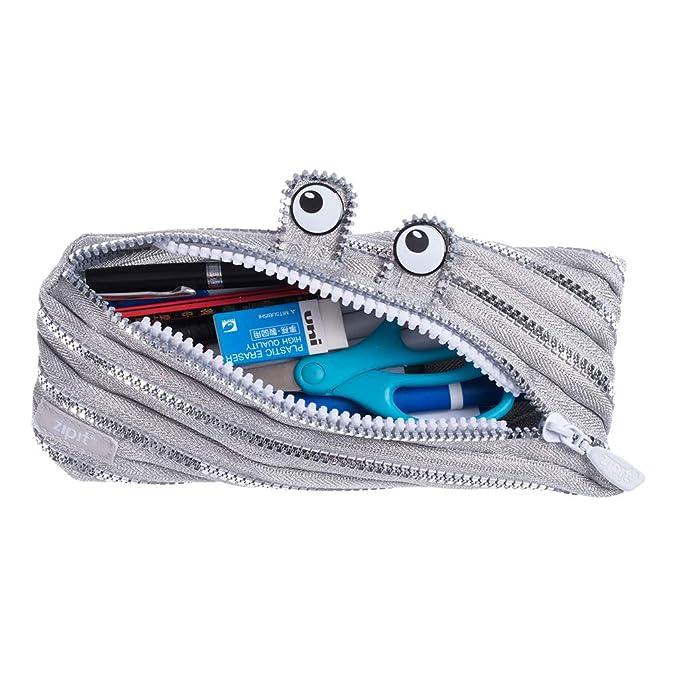 ZIPIT Monster - Estuche para lápices, color plata: Amazon.es: Oficina y papelería