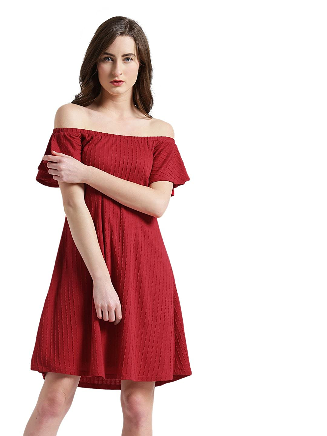 10fde2088184 Zink London Red Striped Off-Shoulder A-Line Dress for Women  Amazon.in   Clothing   Accessories