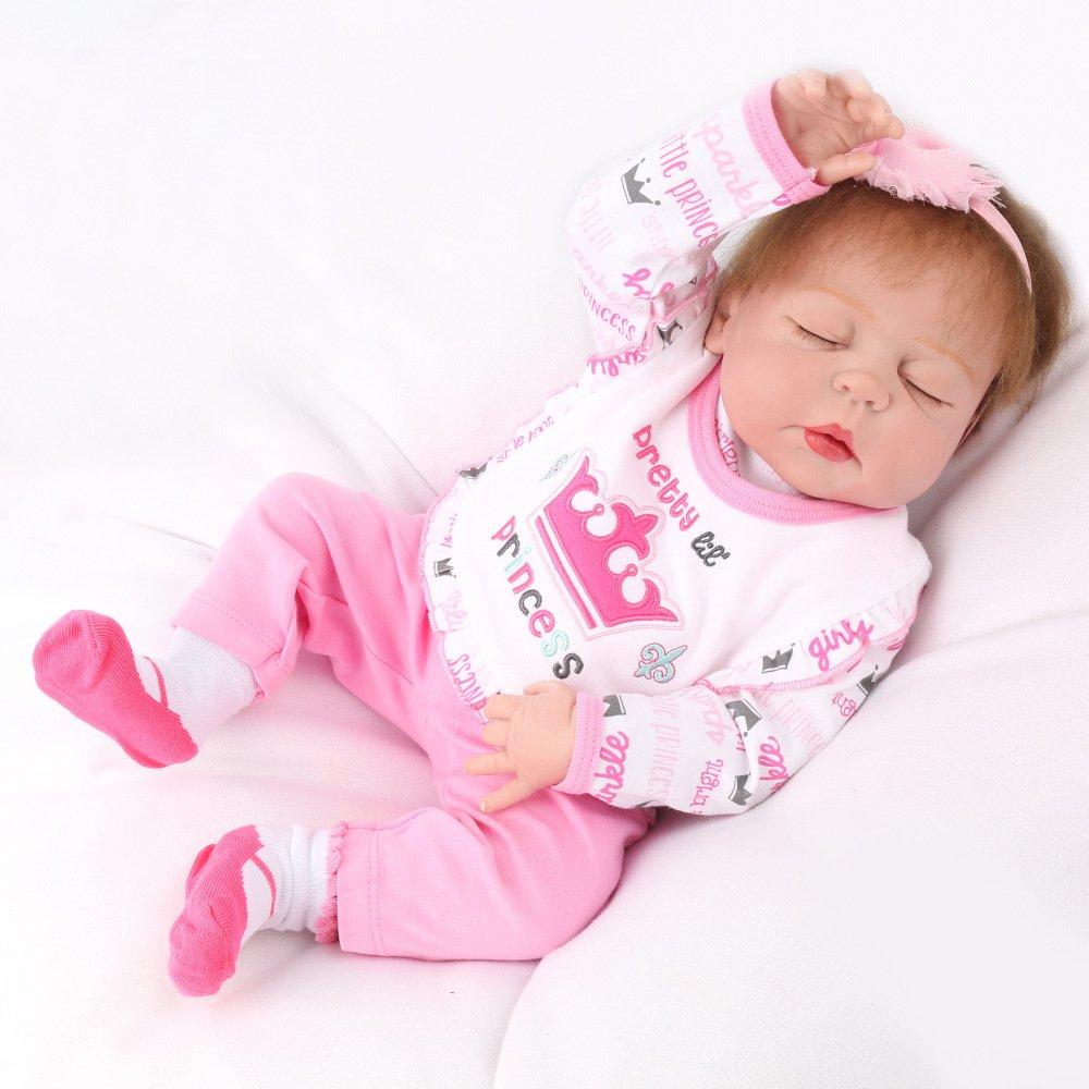 JHGFRT Simulazione Reborn Baby Doll Silicone Morbido di Balneazione per Bambini Reali Giocattoli per Bambini Regalo di Compleanno 55 CM