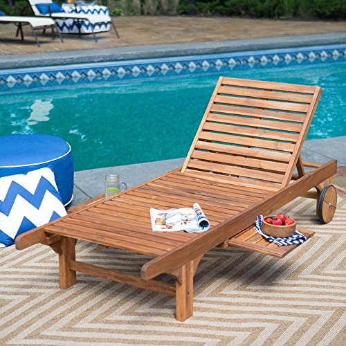 Hardwood Chaise (Solid Hardwood Adjustable Pool Lounge Chair Chaise Lounge Sun Lounger With Wheels Pull Out Tray Outdoor Pool Patio Furniture)