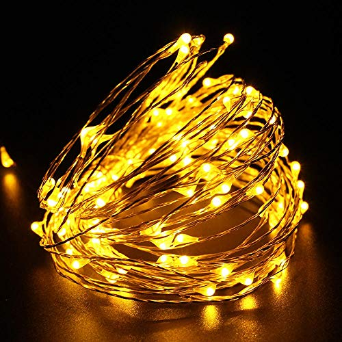 LED Battery String Lights with Remote Control,100 LED 33ft Waterproof Outdoor Lights, for Home Decor Indoor Copper Wire Warm Lights by Voneta