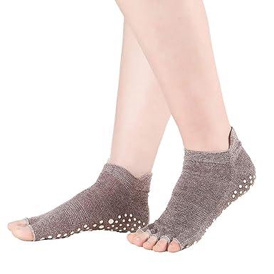 Leisial Calcetines Yoga Sin Dedos para Mujer Antideslizante ...