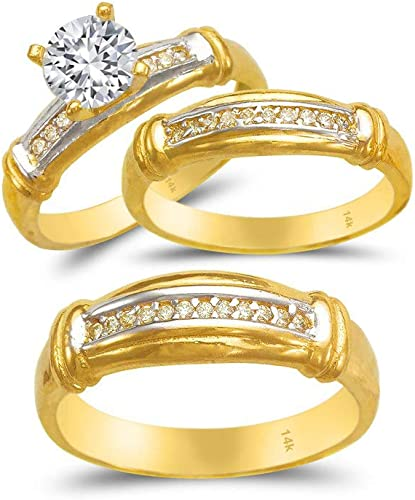 Trio Ring Set 14k Gold Two Tone 3 Piece Wedding His Engagement