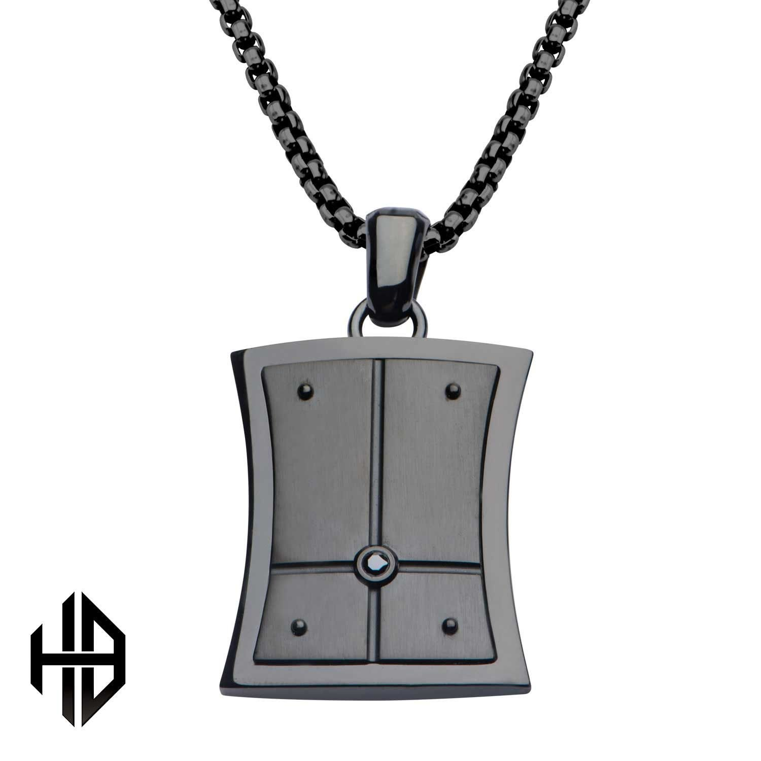 Rare Hills Hollis Bahringer Black Plated with Black-A 2.5 Diamond Dog Tag Pendant with Chain