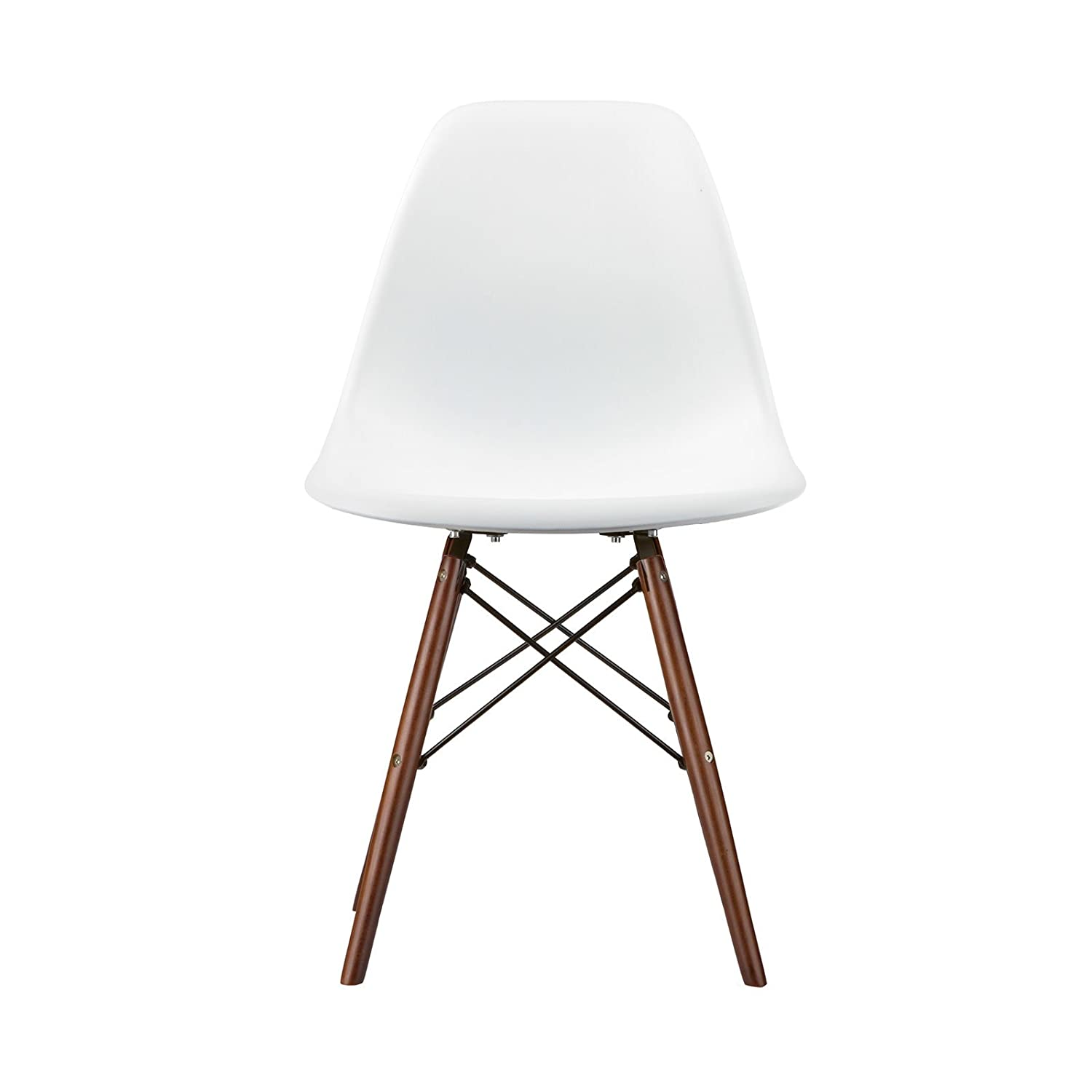 Amazon Poly and Bark Vortex Side Chair Walnut Legs White