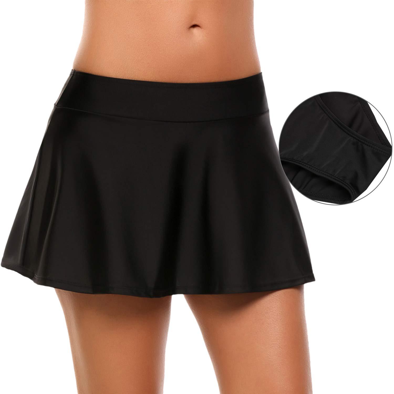 Avidlove Womens Solid Board Shorts Swimming Skirt Bottom, Black, Tag XL=US(L)