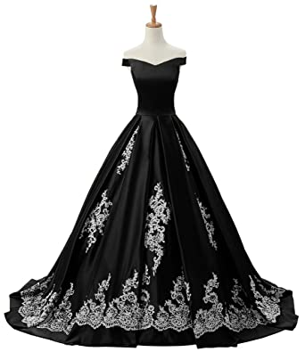 Sunvary Womens Evening Prom Dresses Ball Gown Off-The-Shoulder Applique Reception Size 2