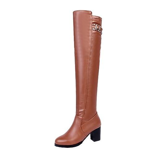 YE Damen Overkneestiefel Blockabsatz High Heels mit Nieten und 7cm Absatz Elegant Schuhe