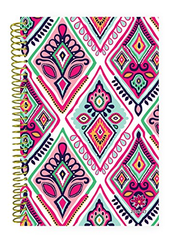 "Bloom Daily Planners 2016-17 Academic Year Daily Planner Passion Goal Organizer Fashion Agenda Weekly Diary Monthly Datebook Calendar August 2016 - July 2017  6"" x 8.25"" - Bohemian Ikat"