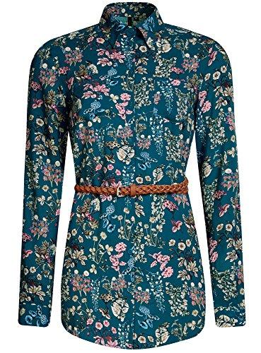 oodji Collection Mujer Túnica Estampada de Viscosa con Cinturón Turquesa (6D4AF)