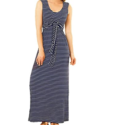 97b23174cf9b4 Women Sleeveless Tie up Front Nursing Dress Maternity and Breastfeeding  Dresses (Navy Blue, XXL