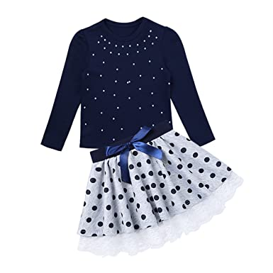 9d5469482c iEFiEL Kids Girls 2 Pieces Outfit Dress Sets Pearls Long Sleeves T-Shirt  Tops with Polka Dots Bowknot Lace Hem Skirt: Amazon.co.uk: Clothing