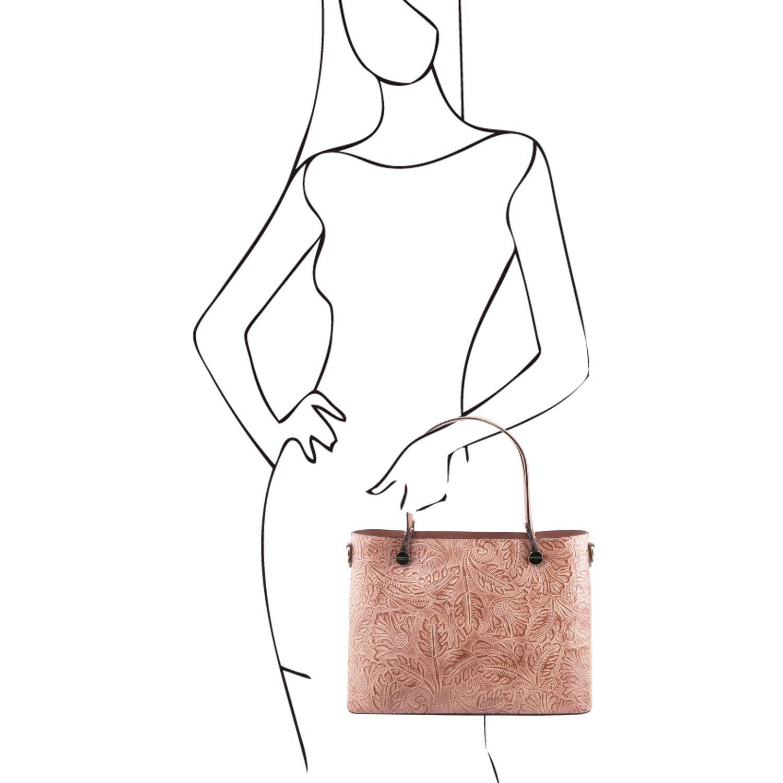 b50b2977eaf50 Tuscany Leather 81416554 ATENA - Shopping Tasche aus Leder mit Blumenmuster