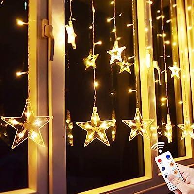 Star Curtain Lights, TOFU Star Shaped Hanging String Lights