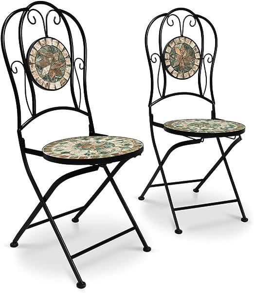 Deuba Set de 2 Sillas mosaico »MALAGA« asiento de cerámica plegables 36x45x94cm para balcón jardín terraza patio: Amazon.es: Jardín