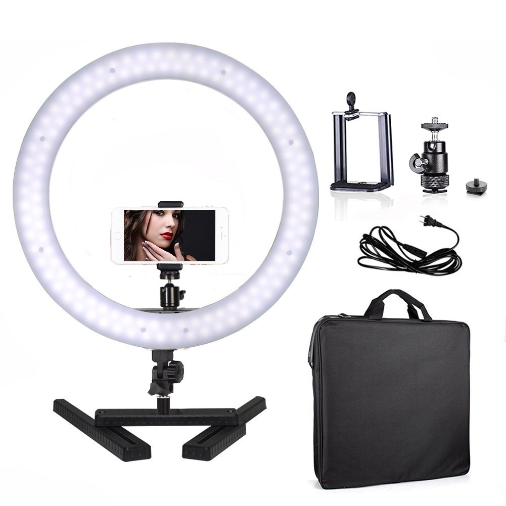 Selens Table Top Photo Video 14'' Outer 40W 180PCS LED Ring Light 5500K Dimmable Youtube Lighting Kit with Camera Mount, Cellphone Holder and Desktop Stand for Beauty Portrait Video Shooting, Make Up