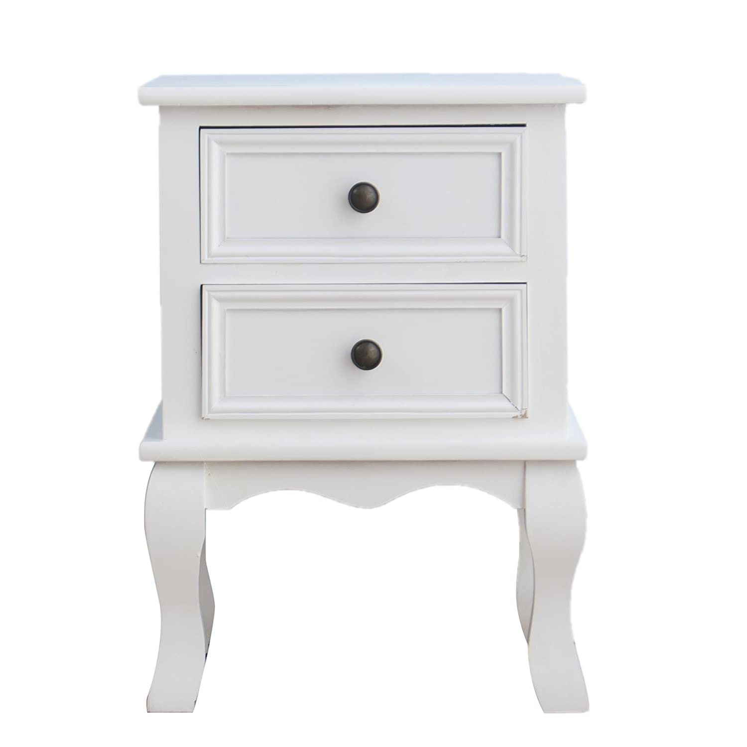 CherryTree Furniture Wood White Bedside Table 2-Drawers Cabinet (White):  Amazon.co.uk: Kitchen & Home
