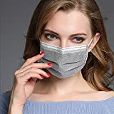50 PCS Disposable Medical Face Mask Dental Surgical Hypoallergenic Sanitary Masks Activated Carbon Filter Masks for Dust Flu Bacterial Nail Salon Paint Cleaner Garden Woodworking