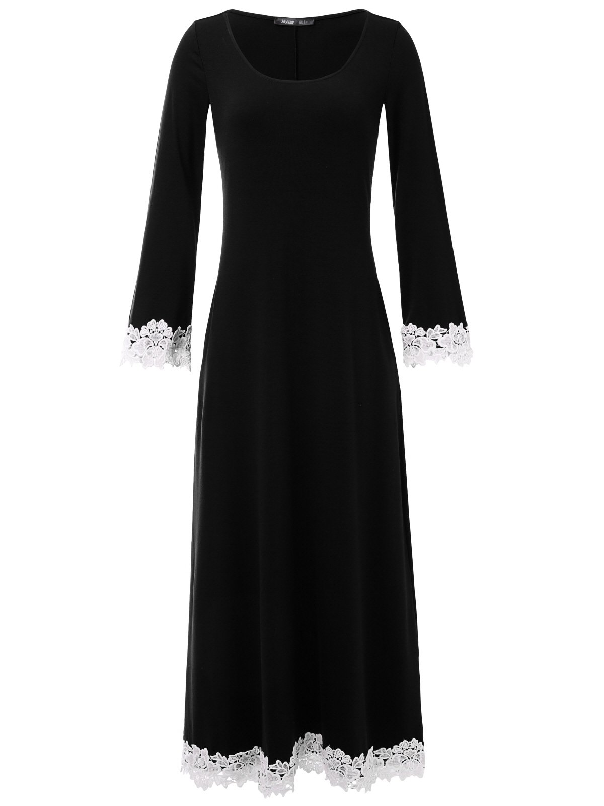 JayJay Women Gorgeous Long Trumpet Sleeve Lacy Maxi Dress with Pocket,Black,M