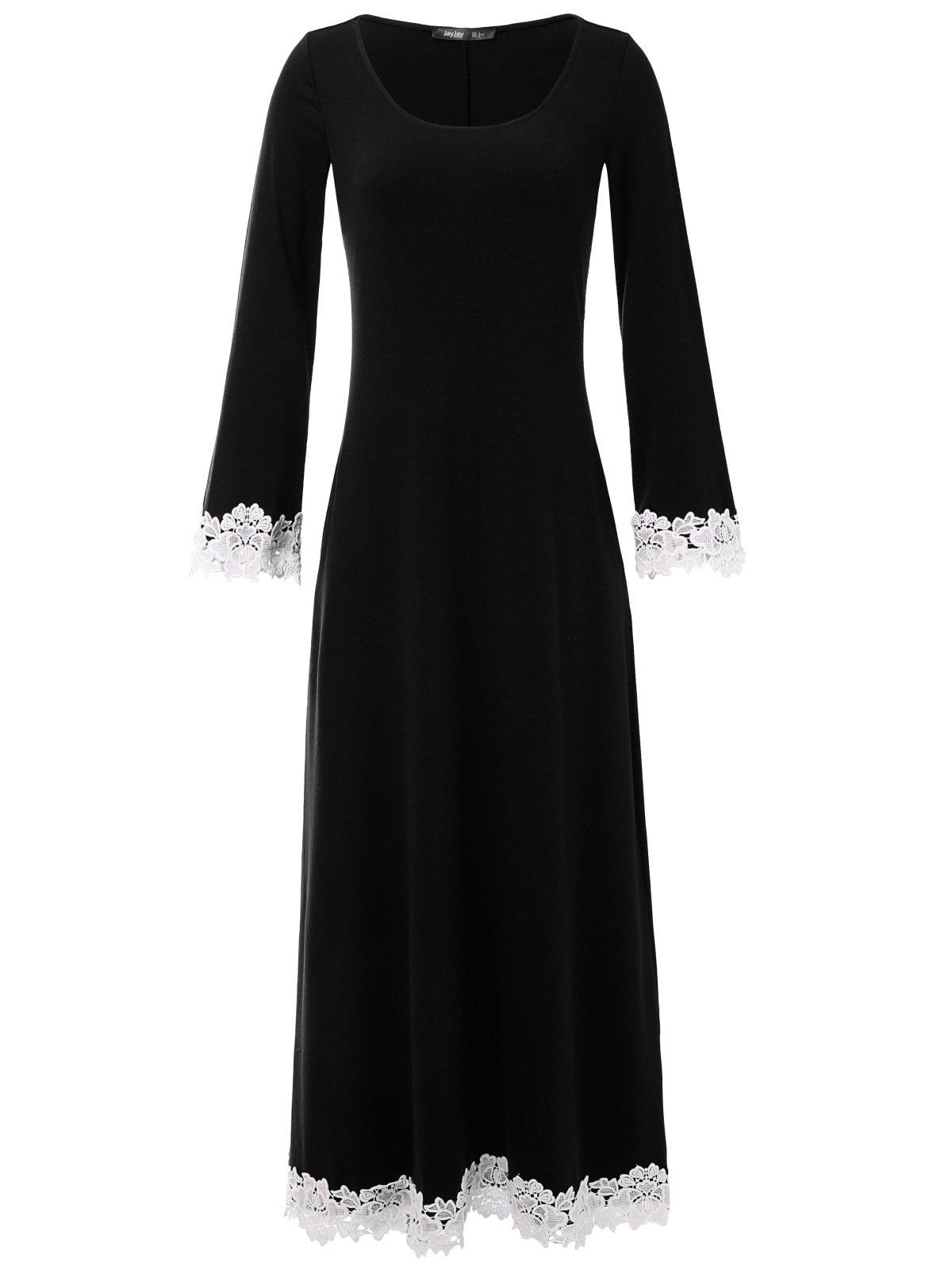 JayJay Women Gorgeous Long Trumpet Sleeve Lacy Maxi Dress with Pocket,Black,M by JayJay Company
