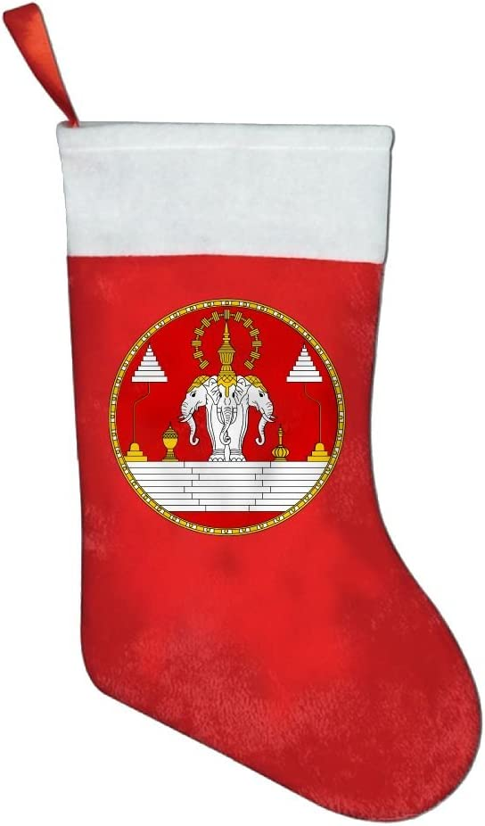 Bandera de Laos de elefante corona insignia Jinsirong positiva impresión tamaño grande árbol de Navidad medias de Navidad Classic: Amazon.es: Hogar