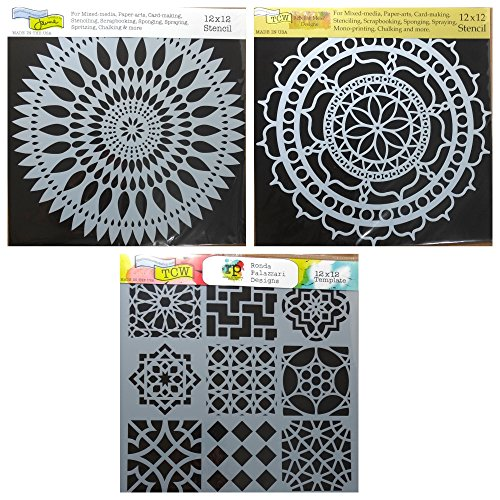 3 Crafters Workshop Large Mixed Media Stencils Set | for Arts, Card Making, Journaling, Scrapbooking | 12 Inch x 12 Inch Templates | To Make Mandala, Mexican Tile, Flower Designs and More ()