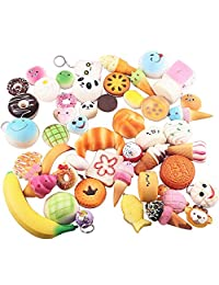 Soft Squishy Simulation Food Doughnut Bread Cake Buns Donuts Pendants Keychains phone Chain Straps Holder Random Style (pack of 10)