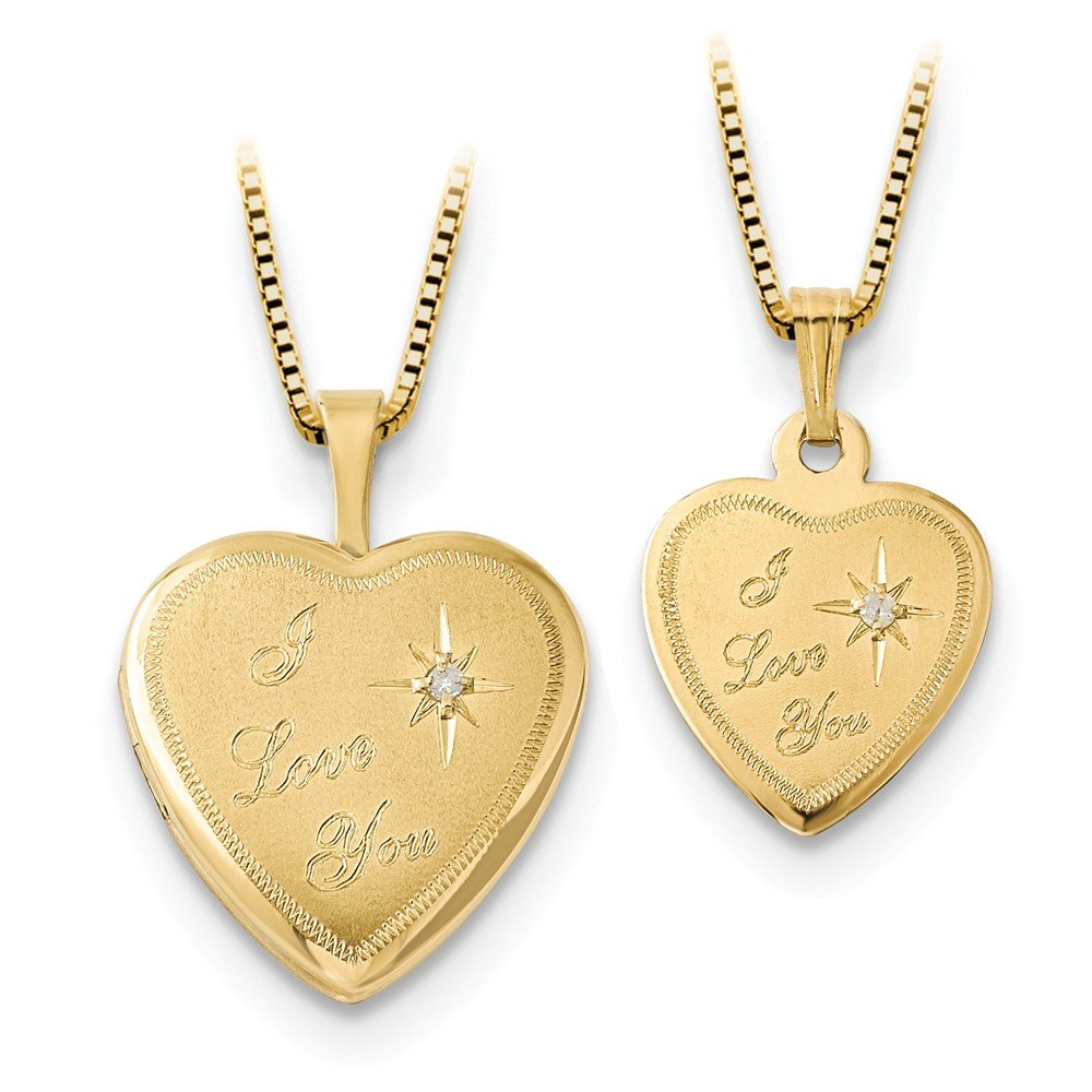 Roy Rose Jewelry 14K Yellow Gold 16mm Diamond I Love You Heart Locket/12mm Gold-plated Sterling Silver Pendant