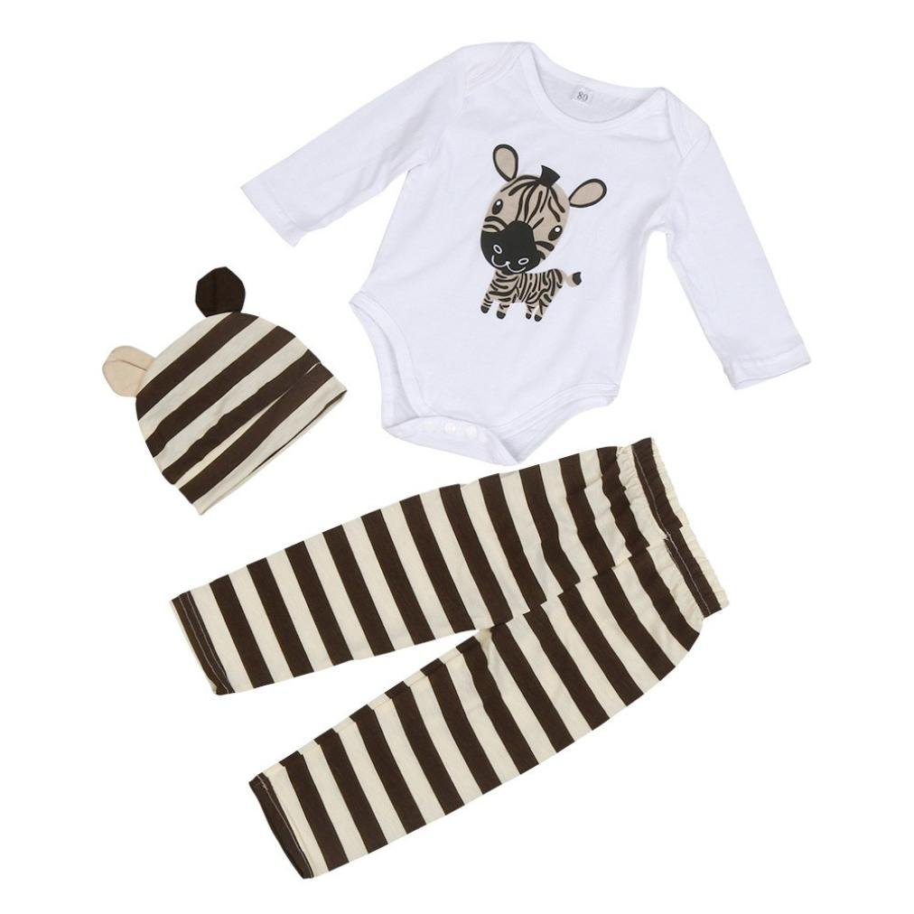 Hevoiok Baby Boys Girls Romper Cute Zebra Printing O Neck Long Sleeve Jumpsuits + Cute Zebra Hat + Zebra Stripe Trousers 3Pcs Outfits