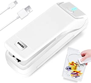 Mini Bag Sealer, VEHHE Chargeable Handheld Heat Sealer Portable food Bag Sealing Machine with 20in Power Cable for Chip Bags, Plastic Bags, Snack Bags-White