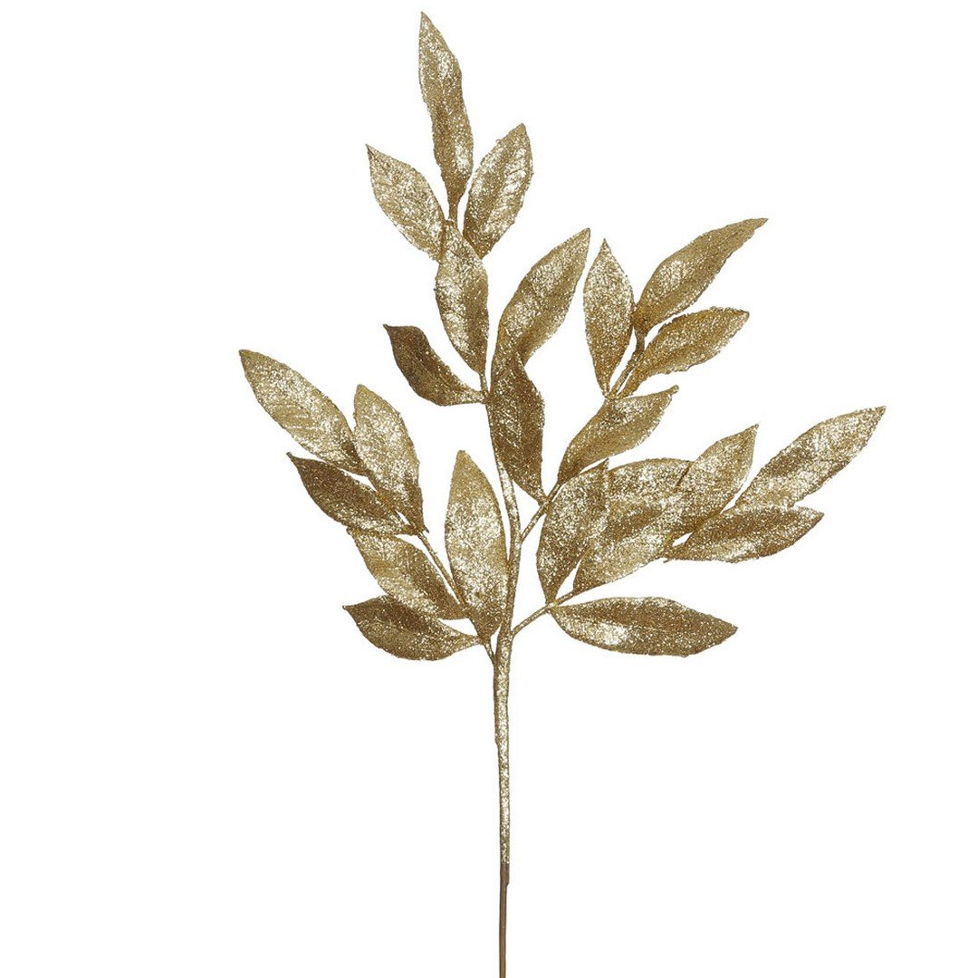 Vickerman Glittered Bay Leaf Spray in 12/Bag, 22'', Gold by Vickerman