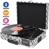 DIGITNOW Bluetooth Record Player , Turntable Suitcase with Built in Speakers and Battery , Vinyl to MP3 Converter with Radio / USB SD Recorder / RCA / Aux in