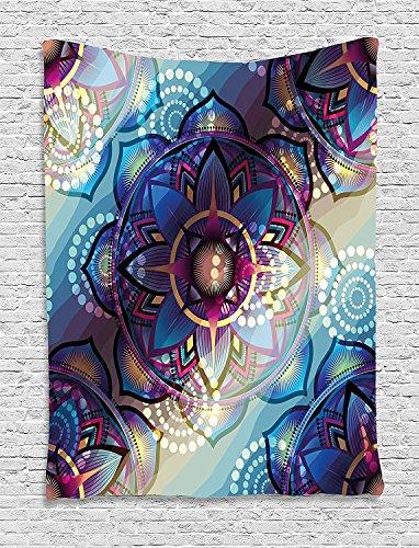 Lotus Tapestry, Gradient Diagonal Mystic Symbols Geometric Alchemy