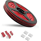 65.6ft Electric Wire 22 Gauge AWSOM Extension Cable Cord Red Black 2 Conductor 20m Tinned Copper Reel Package for LED Strip 3528 5050 Single Color 2Pin