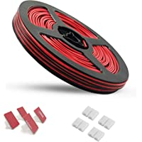 65.6ft Electric Wire 22 Gauge AWSOM Extension Cable Cord Red Black 2 Conductor 20m Tinned Copper Reel Package for LED…