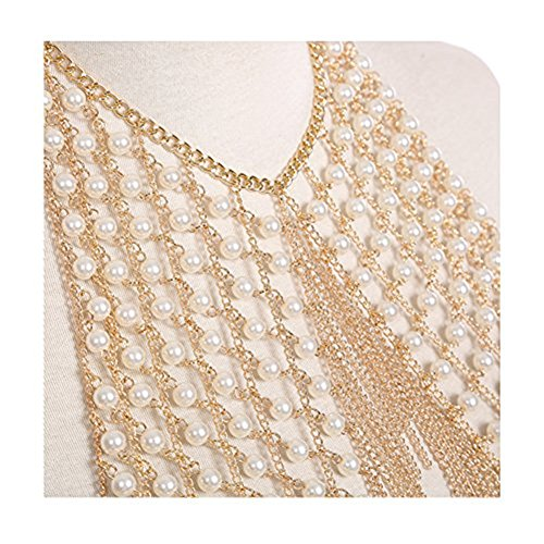 MineSign Sexy Chain Necklace Fashion Shoulder Necklaces Bra Body Jewelry Summer Beach Party Dress Gold Pearl by MineSign (Image #4)