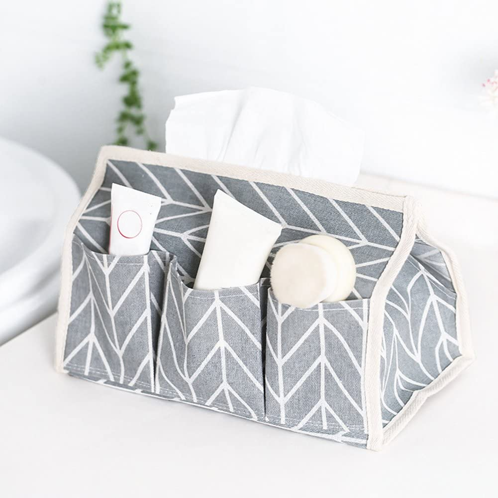 DAYNECETY Fabric Linen Tissue Holders Pocket Case Storage Boxes Green
