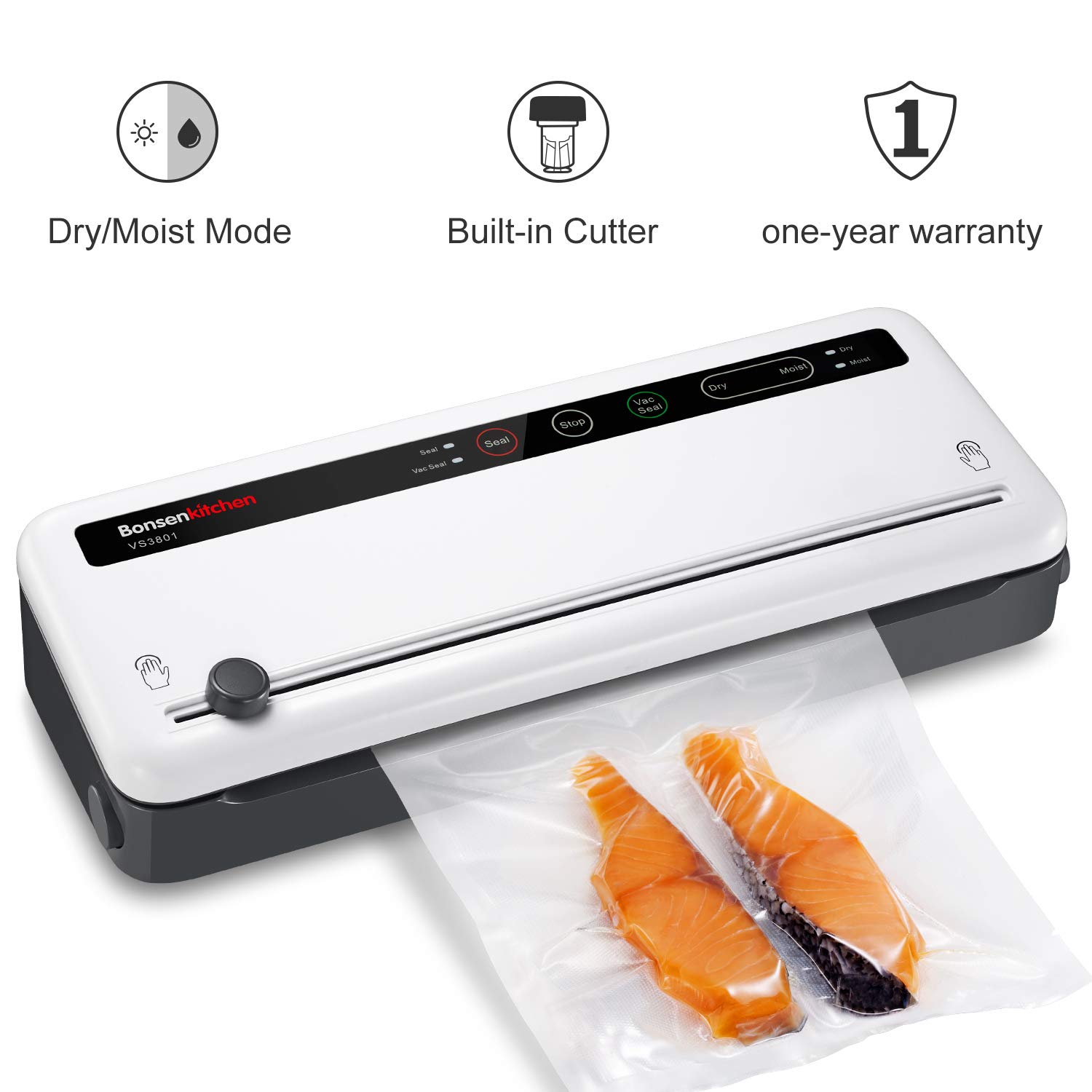 Bonsenkitchen Vacuum Sealer with Built-in Cutter & Roll Bag Storage, Lightweight Food Saver for Dry and Moist Food Fresh Preservation, Vacuum Roll Bags & Hose Included by Bonsenkitchen