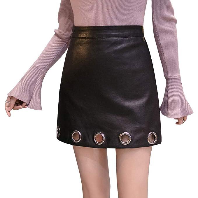 LPATTERN Mini Falda de Cuero de Imitación A-Linea para Mujer con ...