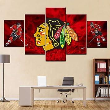 Amazon.com: TRDT 5 Piezas Chicago Blackhawks Cuadro Lienzo ...